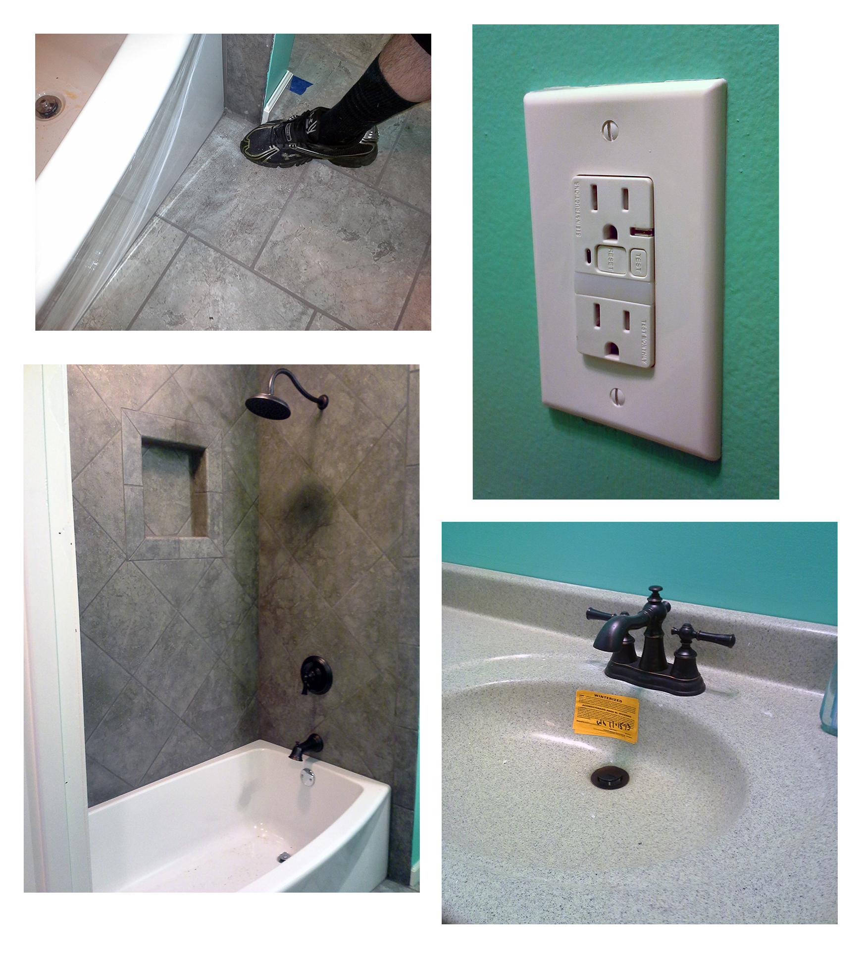 After renovation, the hole next to the tub was fixed, a new shower, tile, and sink fixtures were installed, and energy-efficient GFCI outlets were put in place