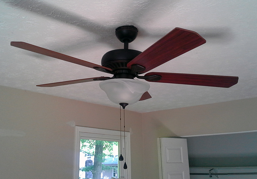 New lighting fixtures and ceiling fans went into the bedrooms and kitchen